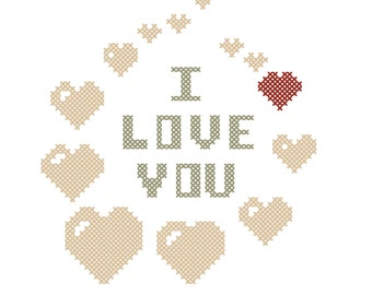 PDF Cross stitch pattern I love you