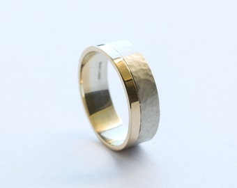 Two Tone Modern Wedding Ring with a polished and hammered satin finish made in 9ct yellow and white gold