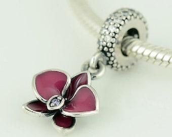 "Pandora ""Silver Dangle Enamel Purple Orchid Clear CZ"" High Fashion Genuine Designer Sterling Silver Charm/Bead Free Velvet Pouch Bag"