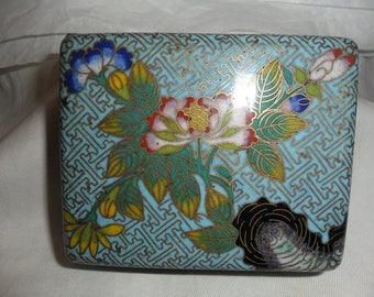scatola in cloisonne antica, tardo Qing, ancien cloisonne box later Qing, cloisonne blue with flowers first 900