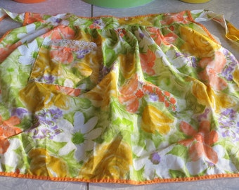 Vintage Floral Half Apron in Orange, Yellow, Green and Purple!