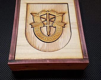 US Army Special Forces Crest wooden mosaic plaque