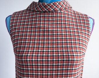 60s Vintage Sleeveless, High-neck Pumpkin Plaid Zipper Back, Russ Label, Scooter Dress (m)