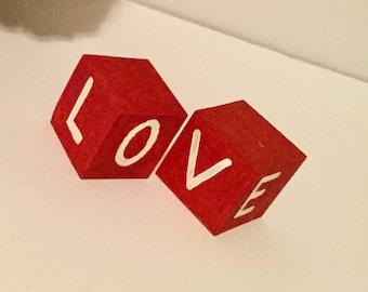 Red Love Wood Block Set