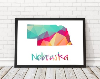 Nebraska Art Etsy - Us map nebraska state