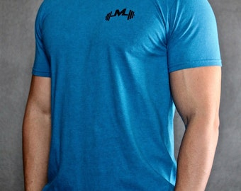 Antique Sapphire Gym Tee - Modern Jock Logo Tee - Gym Shirt - Fitted Sleeves - Perfect Fitting Gym Shirt - Gym t-shirt by Modern Jock