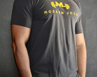 Slate Gray Premium Gym Tee - Modern Jock Logo Tee - Gym Shirt - Fitted Sleeves - Perfect Fitting Gym Shirt - Gym t-shirt by Modern Jock