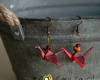 (Crane) - G008 origami earrings