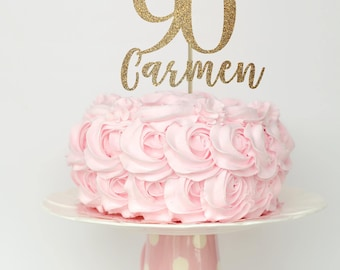 90 and fabulous cake topper, 90 birthday decorations, 90 birthday cake topper, 90th birthday decor, 90 birthday gold cake topper, gold decor