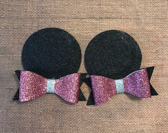 pink minnie mouse ears / pigtail clips / pink bow minnie ears / minnie inspired ears / pink minnie ears