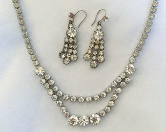 Vintage 1950s Rhinestone Necklace & Earrings