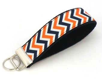 Navy and Orange Chevron Keychain Wristlet, Key Fob, Bag Charm, Coach or Team Gift, Chevron