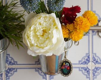 Floral bouquet - Hand Embroidered Necklace, red, purple, yellow, pink, flowers