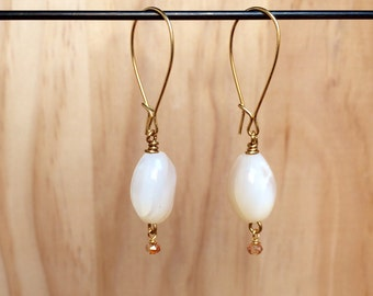 Gold & White Earrings