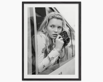 Kate Moss with Camera - Kate Moss Black and White Photograph - Fashion Photo Home Decor - Monochrome Art - Kate Moss portrait