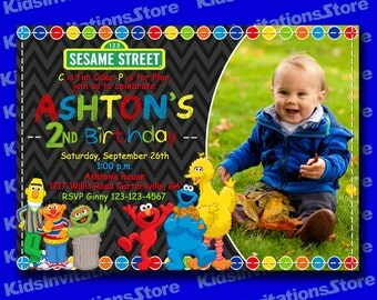 Sesame Street Birthday Invitation-Sesame Street Invitation-Sesame Street Chalkboard Invitation with Photo-Digital File