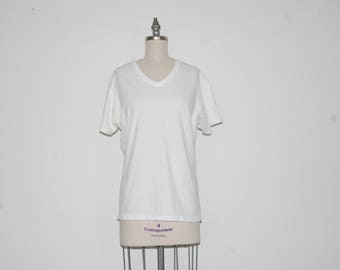 Calvin Klein Plain White V Neck T Shirt