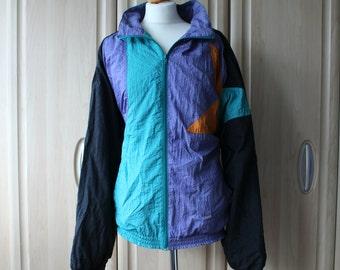 Vintage 90's Star Shellsuit Jacket Unbranded, Loose fit on US Size 8, 10 or 12, UK/Au/Nz 12, 14 or 16