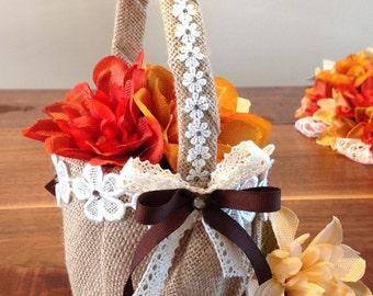 Beautiful Rustic Flower Girl Basket, Decorated Basket, Rustic Wedding Decor