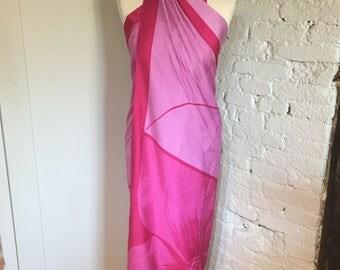 Huge Vintage LIBERTY of LONDON Silk Wrap, Shawl, Sarong, 1970s.