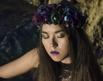 Dark purple/green/blue romantic flower crown / hair wreath