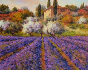 Original painting. Landscape. Artwork by Paolo Bigazzi. Lavender. Tuscany.