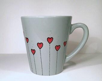 Cute Dotted Hearts, Love Coffee Mug, Girlfriend Gift, Hand Painted Mug
