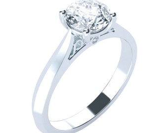 Solitaire Knife Edge Cathedral Moissanite Engagement Ring Round Brilliant Cut 14K 18K Gold Platinum Palladium 1ct 6.5mm 1.5ct 7.5mm 2ct 8mm