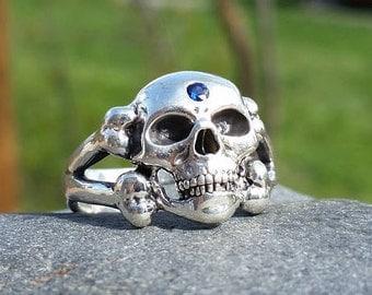Third Eye Skull Ring, Silver Skull Ring, Sapphire Skull Ring, Sapphire, Sterling Silver, Silver Skull, Skull Ring, Blue Sapphire