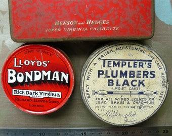Vintage Metal Tins, Advertising, Tobacco, Signage
