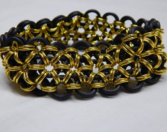 Black and Yellow Anodized Aluminum + EPDM Chain Mail Bracelet Handmade