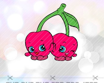 Shopkins SVG Cheeky Cherries DXF EPS Png Layered Cut Files Cricut Designs Silhouette Cameo Birthday Party Supply Decorations Vinyl Decal