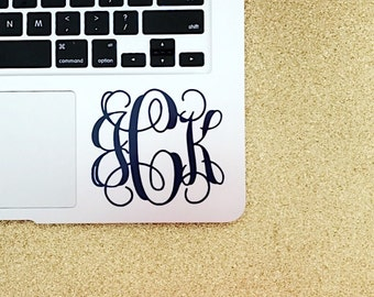 Monogram Decal, Laptop Monogram, Monogrammed Gift, Vine Monogram