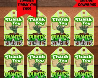 Plants VS Zombies Thank You Tags-Digital Zombies Thank You Tags-Plants Zombies Favors Tags-Plants Party Decoration-Printables Thank You Tags