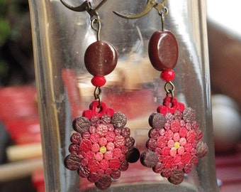 Colorful earrings, handmade, recycled leather and pearls. RESERVED