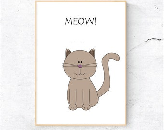 Cat Nursery Print, Printable Nursery Illustration, Kids Print, Instant Digital Download, Animal Nursery, Cat Print, Printable Kids Art, Meow