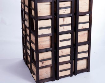 handcrafted box tower storage unit