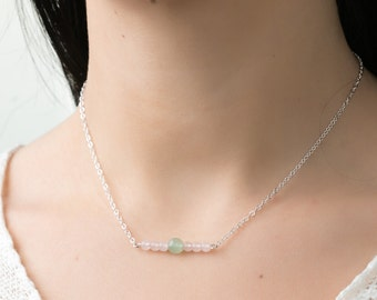 silver necklace layering choker beaded necklace rose quartz necklace green jade necklace simple necklace solid silver chain necklace for her
