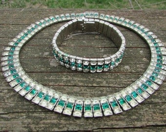 Vintage rhinestone and green glass bracelet and necklace set
