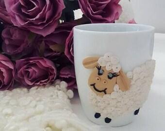 Sheep Mug Polymerclay Gift Tea Coffee