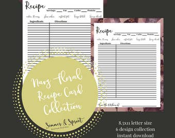 PRINTABLE 8.5x11 Recipe Cards - Vintage Navy Floral Collection - Instant Download