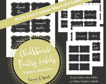Printable Paleo Pantry Labels, Custom Pantry Labels, Paleo Pantry, Chalkboard Labels, Printable Labels, Pantry Labels, Paleo Kitchen, Pantry