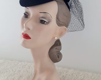 1930's Tilt Hat | 1940's Tilt Hat | Vintage Tilt Hat | Vintage Snood | Vintage Hat With Snood | Vintage Hat |