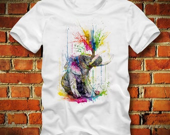 BOARDRIPPAZ Elephant T SHIRT Elefant Psychedelic Abstract Bleeding Water Colors Trippy Colorful Hipster Swag Dope City Elephant Shirt Animal