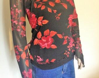 90s Sheer Black Floral Shirt