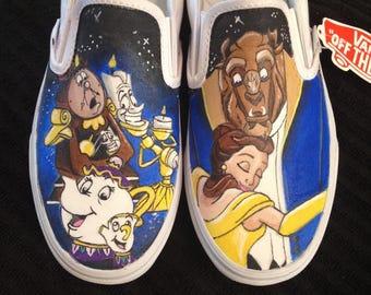Custom painted Beauty and The Beast Vans