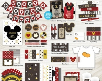 Mickey Mouse Birthday Party Decorations, Printable Birthday Party Package (#401)
