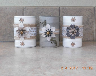 Tin can,Upcycled,Vintage,Decorated,Rustic, Lace, Painted,Embellshed Unique gift ideas