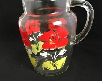 Vintage Floral Glass Pitcher