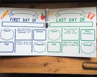 First day of school board, memory board, last day of school, dry erase school memory board